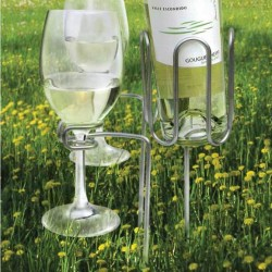 Picnic stake set, 1 bottle and 2 stems