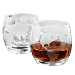 Set of 2 Whisky Glass Etched Globe