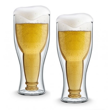 2 Beer Glasses Double Walled